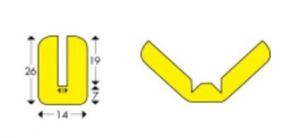 Flexibilis védőszivacs W típusú sárga-fekete 1 méter