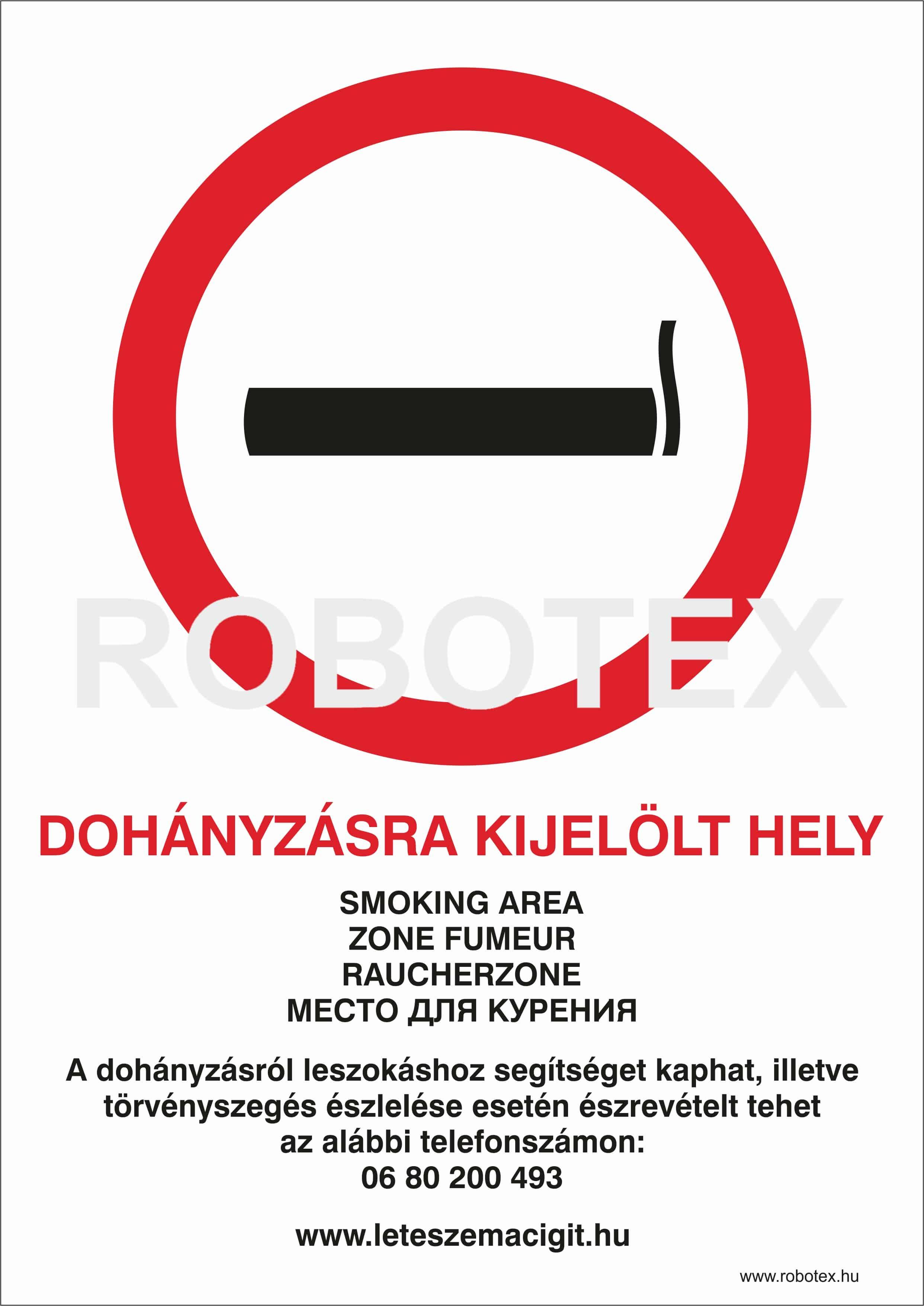 Dohányzásra kijelölt hely 4 nyelvű ANTSZ