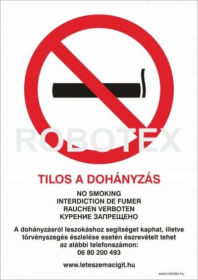Dohányozni tilos! 4 nyelvű ANTSZ